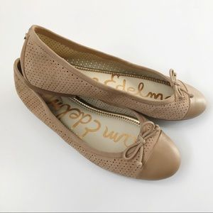 Sam Edelman Falon Cap Toe Leather Bow Flats 8.5M
